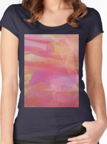 Pink Red Orange Abstract Watercolor Women's Fitted Scoop T-Shirt