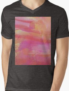 Pink Red Orange Abstract Watercolor Mens V-Neck T-Shirt