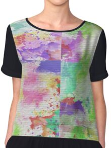 Abstract Painting Watercolor Splatter Pattern Chiffon Top