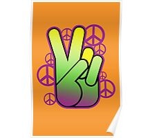Bright Neon Peace Sign Poster