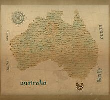 australia vintage map by bri-b