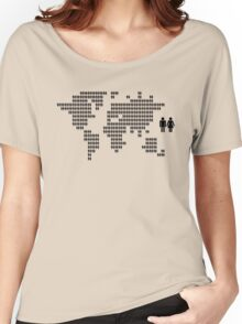 World map made from people icons Women's Relaxed Fit T-Shirt