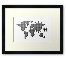 World map made from people icons Framed Print