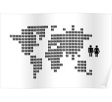 World map made from people icons Poster