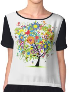 Floral tree summer Chiffon Top