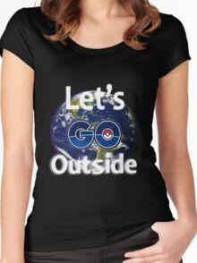 Let's Go Outside Pokemon Go (Centered)  Women's Fitted Scoop T-Shirt
