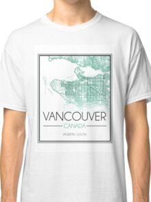 Vancouver, BC City Map- Teal Classic T-Shirt