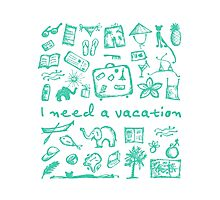 Summer vacations seamless pattern Photographic Print