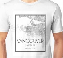Vancouver, BC City Map- Black Unisex T-Shirt