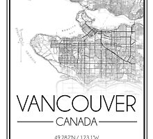 Vancouver, BC City Map- Black by Emma Koehle