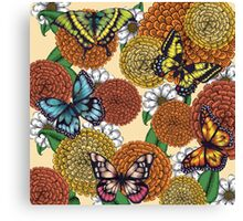 Flowers and Butterflies Pattern Canvas Print