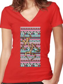 Deer Head Heart Aztec Women's Fitted V-Neck T-Shirt