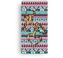 Deer Head Heart Aztec Canvas Print