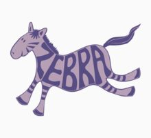 Leaping zebra t shirt (purple) Kids Clothes