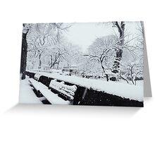 Snowy Bench Greeting Card