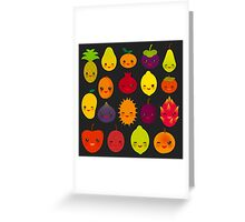 Happy Fruits on black Greeting Card