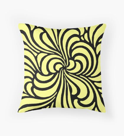 Yellow - Bold swirling printers' ornament design, 1897 Throw Pillow