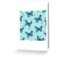 Blue Butterfly Pattern Greeting Card