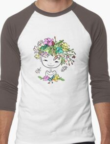Female portrait with floral hairstyle Men's Baseball ¾ T-Shirt