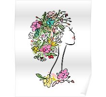 Female profile with floral hairstyle Poster