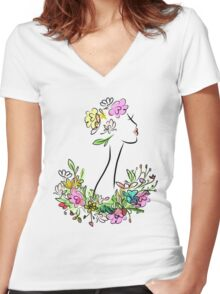Female profile with floral hairstyle Women's Fitted V-Neck T-Shirt