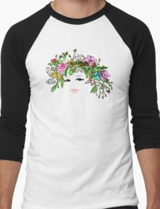 Female profile with floral hairstyle Men's Baseball ¾ T-Shirt