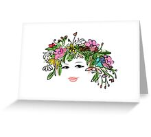 Female profile with floral hairstyle Greeting Card