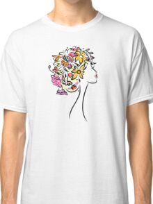 Female profile with floral hairstyle Classic T-Shirt