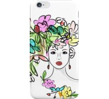 Female profile with floral hairstyle iPhone Case/Skin