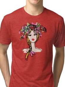 Female profile with floral hairstyle Tri-blend T-Shirt