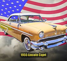 1955 Lincoln Capri Luxury Car And American Flag by KWJphotoart