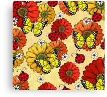 Flowers, Butterflies, and Ladybugs Canvas Print