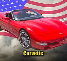 Red C5 Corvette Convertible And American Flag by KWJphotoart