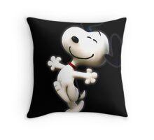 Snoopy, peanut, happy dog,  Throw Pillow