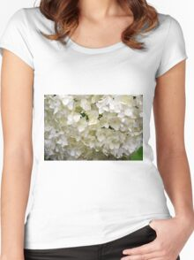 White small beautiful flowers texture. Women's Fitted Scoop T-Shirt