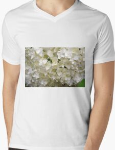White small beautiful flowers texture. Mens V-Neck T-Shirt