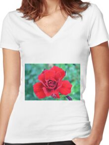 Red rose on a green background. Women's Fitted V-Neck T-Shirt
