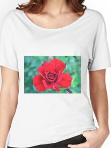Red rose on a green background. Women's Relaxed Fit T-Shirt