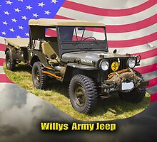 Willys World War Two Army Jeep and American Flag by KWJphotoart