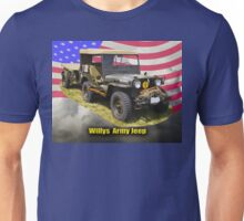 Willys World War Two Army Jeep and American Flag Unisex T-Shirt