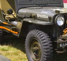 Willys World War Two Army Jeep and American Flag Sticker