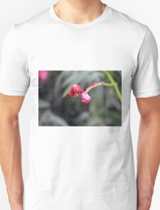 Small red flower bud, natural background. Unisex T-Shirt