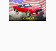 1967 Convertible Red Camaro And US Flag Unisex T-Shirt