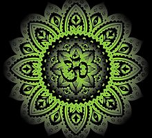 Yoga Mandala Henna Ornate Ohm Green by Carolina Swagger