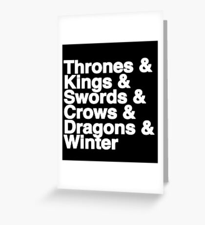 A Song of Ice and Fire (Black) Greeting Card