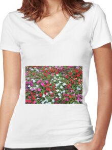 Colorful flowers pattern. Women's Fitted V-Neck T-Shirt
