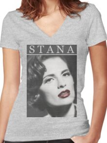Stana Katic as Marilyn Monroe Women's Fitted V-Neck T-Shirt