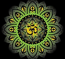 Yoga Mandala Henna Ornate Ohm Sage Green Yellow by Carolina Swagger