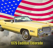 1975 Cadillac Eldorado Convertible And US Flag by KWJphotoart