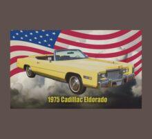 1975 Cadillac Eldorado Convertible And US Flag One Piece - Short Sleeve